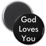 God Loves You 2 Inch Round Magnet