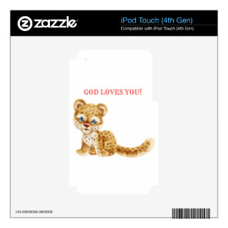 God Loves You Adorable Jungle Wildcat Cheetah Baby iPod Touch 4G Decal