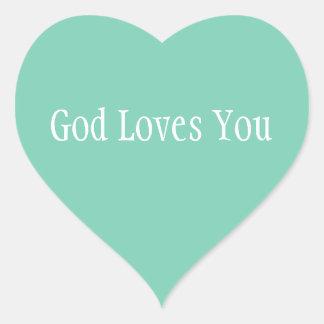 God Loves You Heart Sticker
