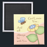 """&quot;God Loves You&quot; Magnet<br><div class=""""desc"""">This inspirational magnet will make the perfect little accent for home or office! Please also take a look at the additional items that coordinate with this magnet,  which include a spiral notebook,  notepad,  coasters,  and ceramic trivet.</div>"""