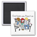 God Loves You Pass it On 2 Inch Square Magnet
