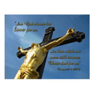 God Loves You Romans 5 7-8 Devotional Postcard