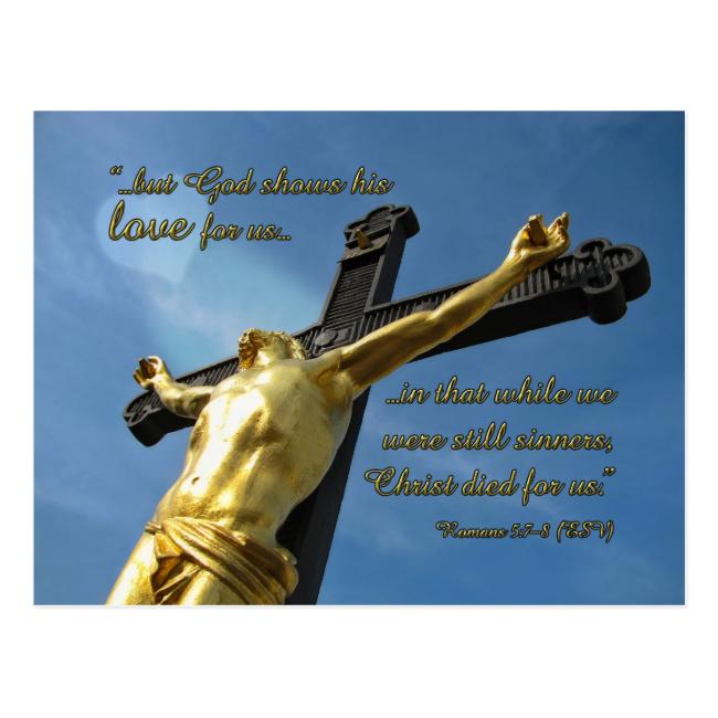 God Loves You Romans 5:7-8 Devotional Postcard
