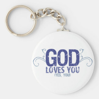 God Loves You (yes, you!) Basic Round Button Keychain