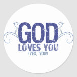 God Loves You (yes, you!) Round Stickers