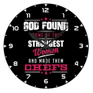 God Made Chefs Hilarious Profession Design Large Clock