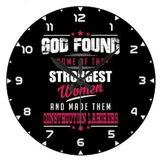 God Made Construction Laborers Hilarious Design Large Clock