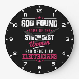 God Made Electricians Hilarious Profession Design Large Clock