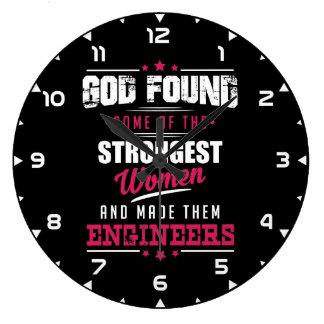 God Made Engineers Hilarious Profession Design Large Clock