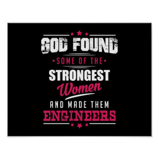 God Made Engineers Hilarious Profession Design Poster