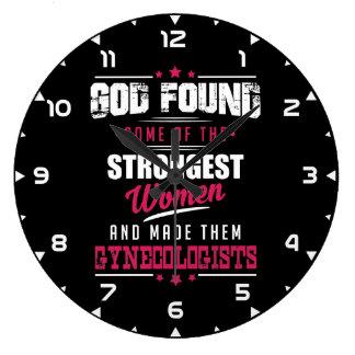 God Made Gynecologist Hilarious Profession Design Large Clock