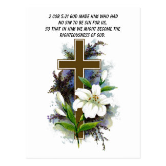 God made him who had no sin cross postcard