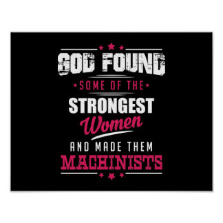 God Made Machinists Hilarious Profession Design Poster
