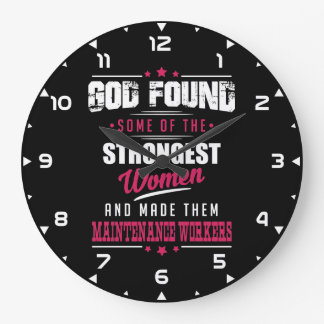 God Made Maintenance Workers Hilarious Profession Large Clock