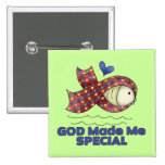 God Made Me Special Autism Fish Symbol Buttons