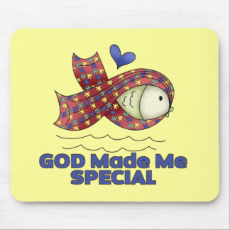 God Made Me Special Autism Fish Symbol Mouse Pad