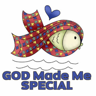 God Made Me Special Autism Fish Symbol Standing Photo Sculpture
