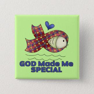 God Made Me Special Autism Fish Symbol Pinback Button