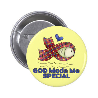 God Made Me Special Autism Fish Symbol Pinback Button