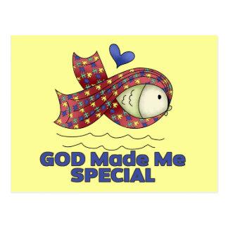 God Made Me Special Autism Fish Symbol Postcard