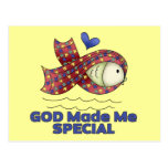 God Made Me Special Autism Fish Symbol Postcards