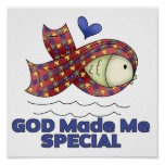 God Made Me Special Autism Fish Symbol Print