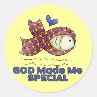 God Made Me Special Autism Fish Symbol Round Sticker