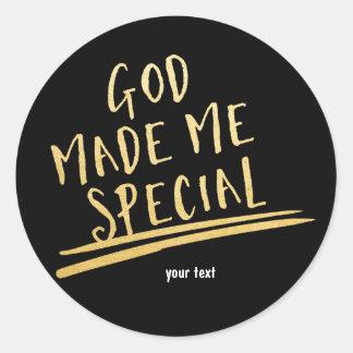 GOD MADE ME SPECIAL Black & Gold Custom Sticker