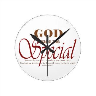 God Made Me Special Round Clock