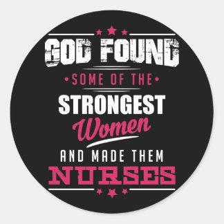 God Made Nurses Hilarious Profession Design Classic Round Sticker