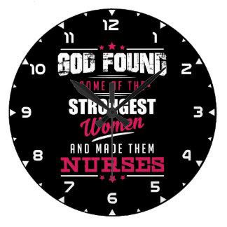 God Made Nurses Hilarious Profession Design Large Clock