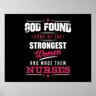 God Made Nurses Hilarious Profession Design Poster