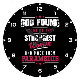 God Made Paramedics Hilarious Profession Design Large Clock