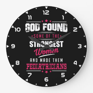 God Made Pediatricians Hilarious Profession Design Large Clock