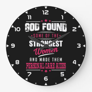 God Made Personal Care Aides Hilarious Profession Large Clock