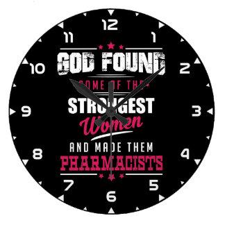 God Made Pharmacists Hilarious Profession Design Large Clock