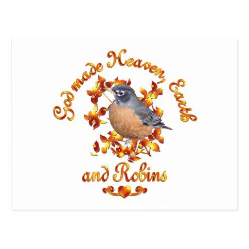 God Made Robins Postcard