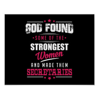 God Made Secretaries Hilarious Profession Design Poster