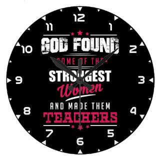 God Made Teachers Hilarious Profession Design Large Clock