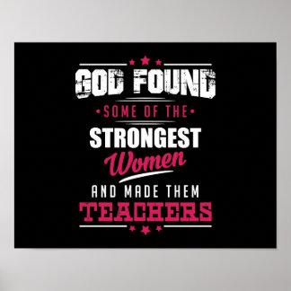 God Made Teachers Hilarious Profession Design Poster