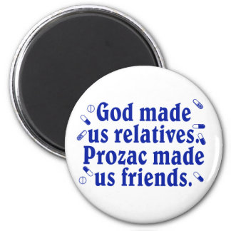 God made us relatives 2 inch round magnet