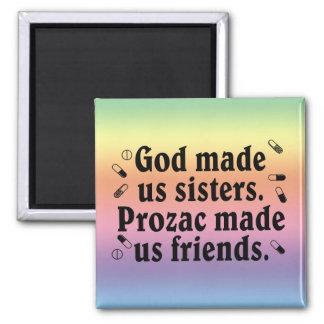 God made us sisters 2 inch square magnet