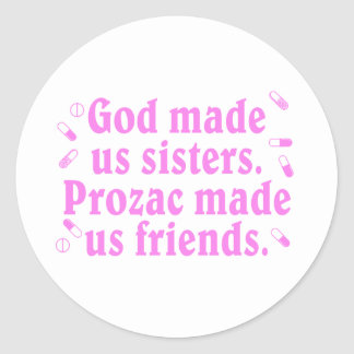 God made us sisters classic round sticker