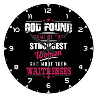 God Made Waitresses Hilarious Profession Design Large Clock