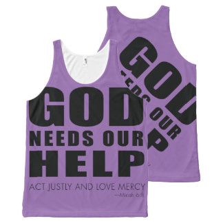 God Needs Our Help (Act Justly and Love Mercy) All-Over Print Tank Top