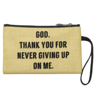 God Never Gives Up On Me Suede Wristlet Wallet