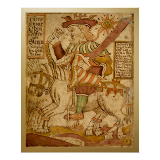 God Odin on his Eight-legged Horse Sleipnir - 2 Poster