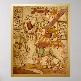 God Odin on his Eight-legged Horse Sleipnir - 2 Poster