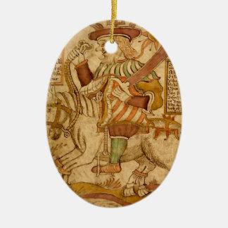 God Odin on his Eight-legged Horse Sleipnir - 3NBG Double-Sided Oval Ceramic Christmas Ornament