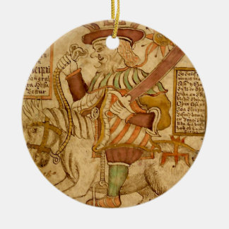 God Odin on his Eight-legged Horse Sleipnir - 4 Ceramic Ornament